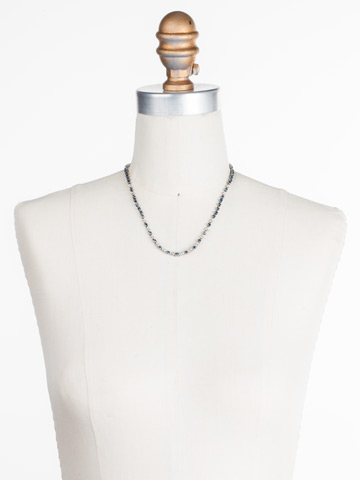 The Skinny Necklace in Antique Silver-tone Glory Blue displayed on a necklace bust