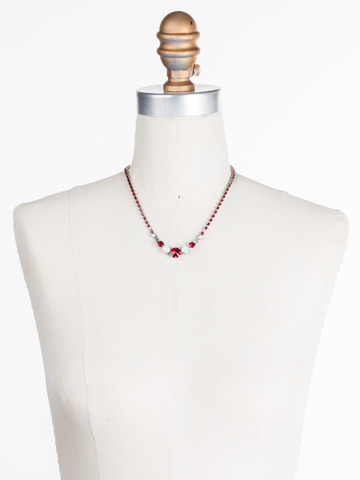 Round Up Necklace in Antique Silver-tone Crimson Pride displayed on a necklace bust
