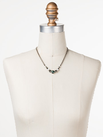 Round Up Necklace in Antique Silver-tone Game Day Green displayed on a necklace bust
