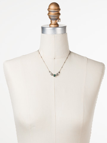 Gemini Necklace in Antique Silver-tone Game Day Green displayed on a necklace bust