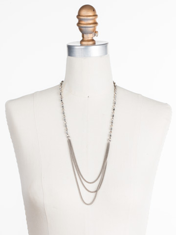 Senna Necklace in Antique Silver-tone Lemon Zest displayed on a necklace bust