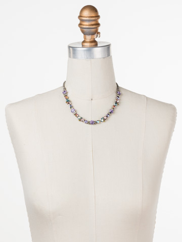 One-of-a-Kind Necklace in Antique Silver-tone Lilac Pastel displayed on a necklace bust
