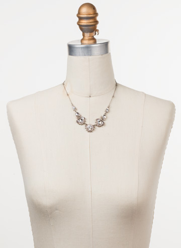 California Poppy Necklace in Antique Silver-tone Soft Petal displayed on a necklace bust