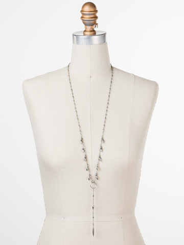 Stand Out Necklace in Antique Silver-tone Crystal displayed on a necklace bust