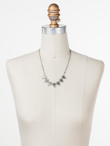 Points of View Necklace in Antique Silver-tone Crystal displayed on a necklace bust