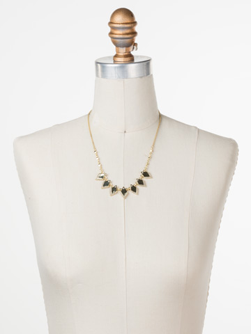 Points of View Necklace in Bright Gold-tone Crystal displayed on a necklace bust