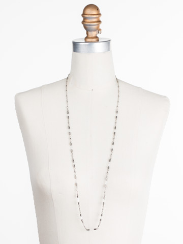 Chained To the Rhythm Necklace in Antique Silver-tone Crystal displayed on a necklace bust