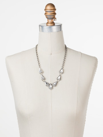 On the Rocks Necklace in Antique Silver-tone Crystal displayed on a necklace bust
