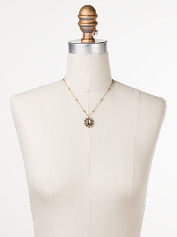 Abelia Necklace in Antique Gold-tone Sandstone displayed on a necklace bust