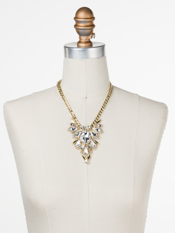 Ice Queen Necklace in Bright Gold-tone Crystal displayed on a necklace bust