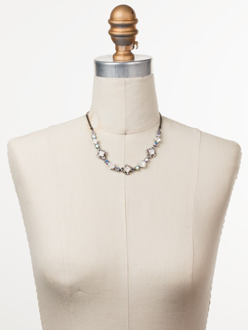 Stonecrop Necklace in Antique Silver-tone Glacier displayed on a necklace bust