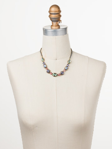 Cardoon Classic Line Necklace in Antique Gold-tone Bohemian Bright displayed on a necklace bust