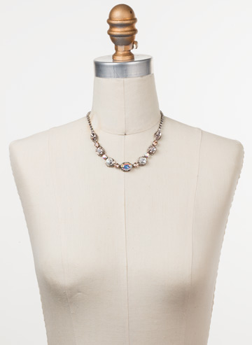 Cardoon Classic Line Necklace in Antique Silver-tone Silky Clouds displayed on a necklace bust