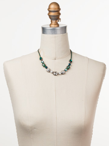 Cardoon Classic Line Necklace in Antique Silver-tone Snowy Moss displayed on a necklace bust