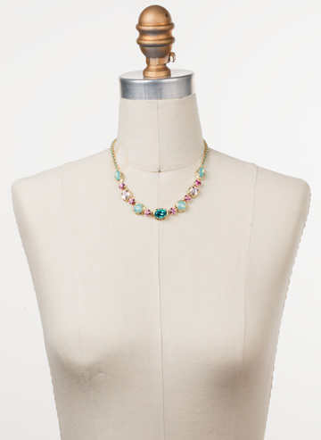 Cardoon Classic Line Necklace in Bright Gold-tone Candy Pop displayed on a necklace bust