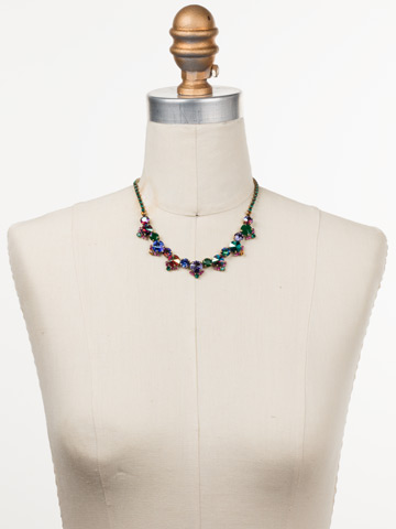 Manzanita Necklace in Antique Gold-tone Game of Jewel Tones displayed on a necklace bust