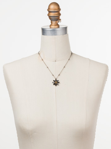 Celestina Pendant Necklace in Antique Silver-tone Heavy Metal displayed on a necklace bust