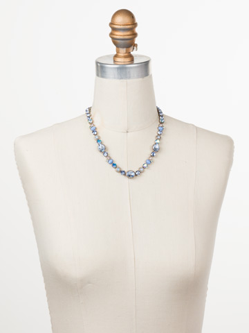 Ricciarda Classic Line Necklace in Antique Silver-tone Pastel Prep displayed on a necklace bust