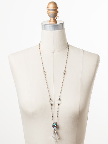 Pazienza Long-Strand Necklace in Antique Silver-tone Pastel Prep displayed on a necklace bust