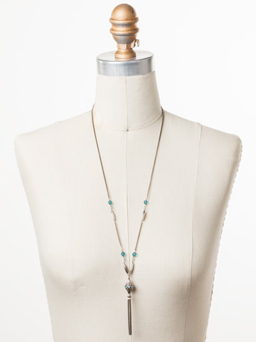 Constantia Long-Strand Necklace in Antique Silver-tone Pastel Prep displayed on a necklace bust