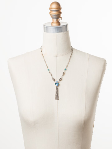 Matelda Long-Stand Necklace in Antique Silver-tone Pastel Prep displayed on a necklace bust
