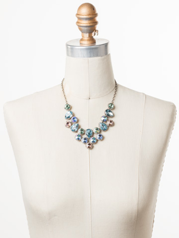 Armina Necklace in Antique Silver-tone Pastel Prep displayed on a necklace bust