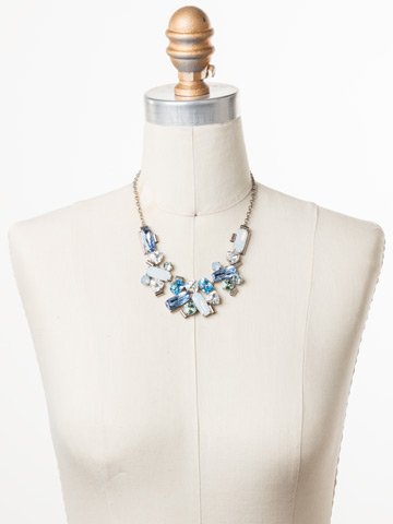 Fabiana Necklace in Antique Silver-tone Pastel Prep displayed on a necklace bust