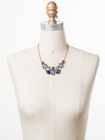 Alessia Necklace in Antique Gold-tone Bohemian Bright displayed on a necklace bust
