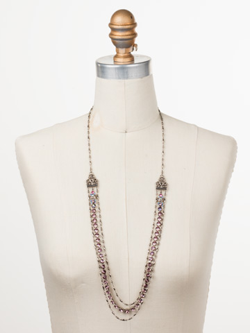 Petronilla Long Strand Necklace in Antique Silver-tone Stargazer displayed on a necklace bust