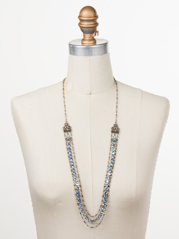 Petronilla Long Strand Necklace in Antique Silver-tone Pastel Prep displayed on a necklace bust