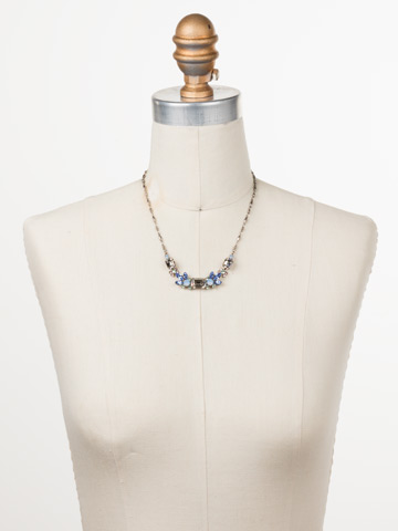 Zelmira Classic Line Necklace in Antique Silver-tone Pastel Prep displayed on a necklace bust