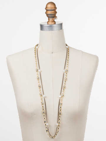 Emery Long Strand Necklace in Mixed Metal Modern Pearl displayed on a necklace bust
