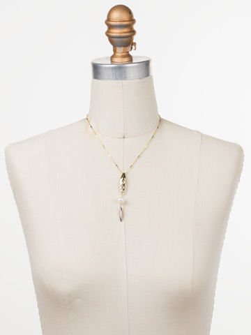 Elena Pendant Necklace in Mixed Metal Modern Pearl displayed on a necklace bust