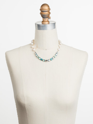 Cadenza Necklace in Antique Silver-tone Pastel Prep displayed on a necklace bust
