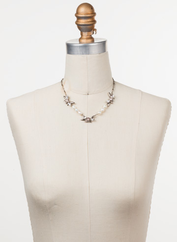 Elisa Necklace in Antique Silver-tone Soft Petal displayed on a necklace bust