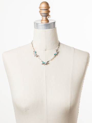 Elisa Necklace in Antique Silver-tone Pastel Prep displayed on a necklace bust