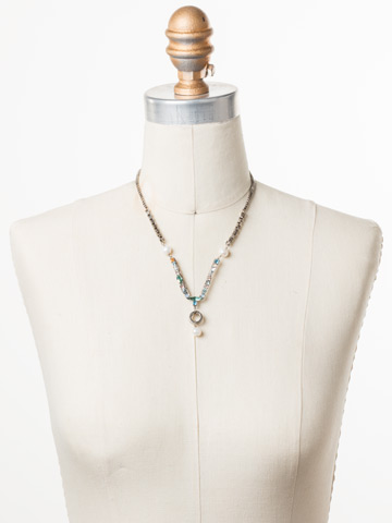 Aryana Necklace in Antique Silver-tone Pastel Prep displayed on a necklace bust