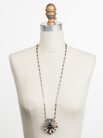 Amalia Necklace in Antique Silver-tone Stargazer displayed on a necklace bust