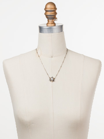 Luna Pendant Necklace in Antique Silver-tone Heavy Metal displayed on a necklace bust