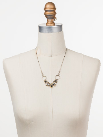 Aurora Classic Necklace in Antique Silver-tone Heavy Metal displayed on a necklace bust