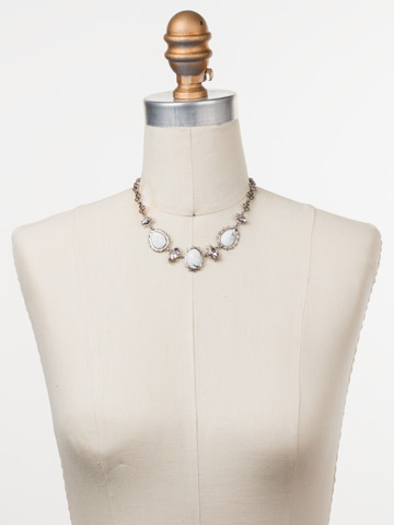 Maria Statement Necklace in Antique Silver-tone Silky Clouds displayed on a necklace bust