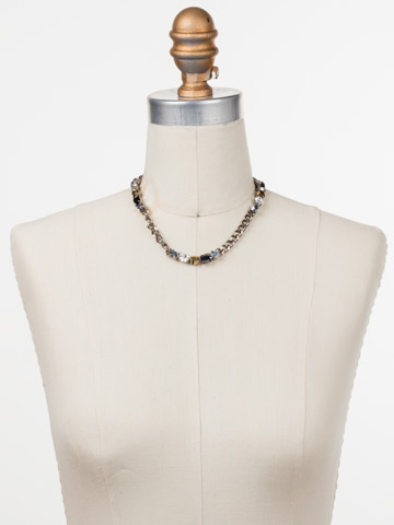 Cheney Classic Necklace in Antique Silver-tone Heavy Metal displayed on a necklace bust