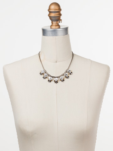 Skylar Line Necklace in Antique Silver-tone Heavy Metal displayed on a necklace bust