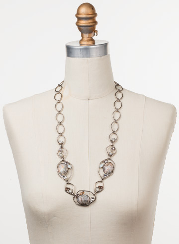 Presley Long Strand Necklace in Antique Silver-tone Silky Clouds displayed on a necklace bust