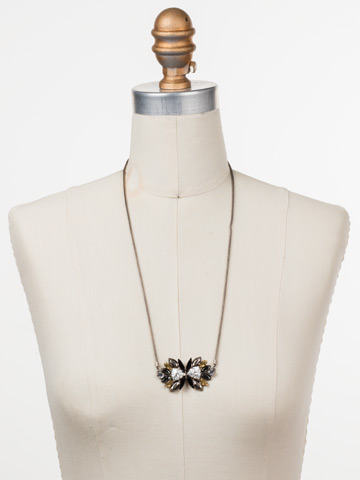 Xenia Adjustable Choker Necklace in Antique Silver-tone Heavy Metal displayed on a necklace bust