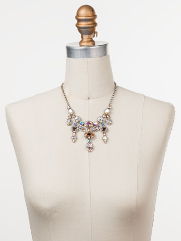 Ursula Statement Necklace in Antique Silver-tone Silky Clouds displayed on a necklace bust