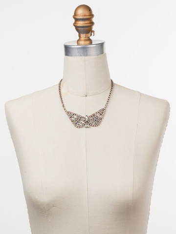 Karissa Statement Necklace in Antique Silver-tone Silky Clouds displayed on a necklace bust