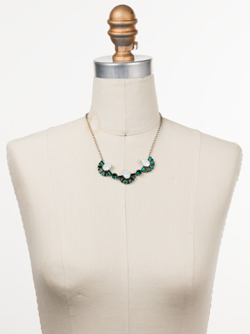 Lysa Bib Necklace in Antique Silver-tone Snowy Moss displayed on a necklace bust