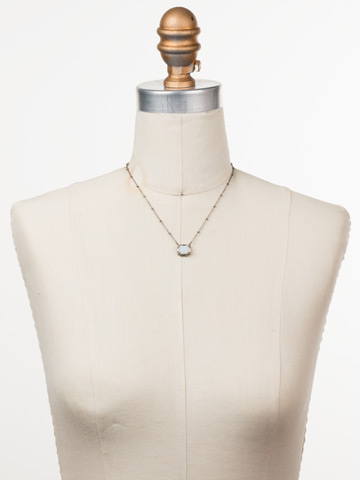Meera Pendant Necklace in Antique Silver-tone Glacier displayed on a necklace bust