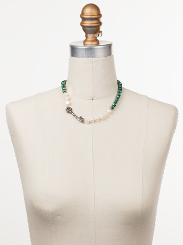 Eilidh Classic Necklace in Antique Silver-tone Snowy Moss displayed on a necklace bust